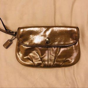 CLEARANCE -- Coach metallic wristlet/clutch - EUC!